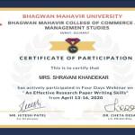 Prof. Shravani Khandekar from OCCM B.Com Dept Got certificate (1)