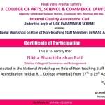 Miss Nikita Patil from Admin Dept Got certificate-2