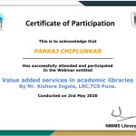 Pankaj Chiplunkar College Librarian Got certificate-3