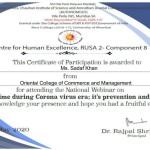 Prof. Sadaf Khan from BMS Dept Got certificate-2