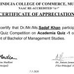 Prof. Sadaf Khan from BMS Dept Got certificate-3