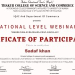 Prof. Sadaf Khan from BMS Dept Got certificate-4